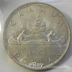 Canadian Gem 1961 Queen Elizabeth II Silver Dollar ICCS Certified MS65 BV-$2000