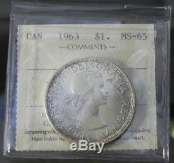 Canadian Gem 1963 Queen Elizabeth II Silver Dollar ICCS Certified MS65