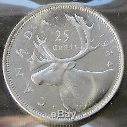 Canadian Super Gem 1964 Queen Elizabeth II Silver 25 cent ICCS Certified MS66