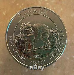 Coin Silver Canadian 1-1/2 oz BU 2014 Arctic Fox & Queen Elizabeth II RARE