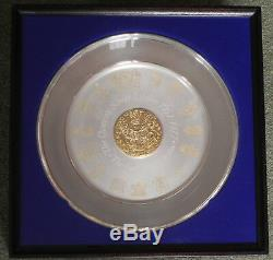 College of Arms Solid Silver Queen Elizabeth 11 Jubilee Plate 562g Framed