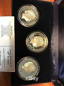 Commemorative Coin Set Queen Elizabeth 80th Birthday 2006 3 X £5 Silver Crowns