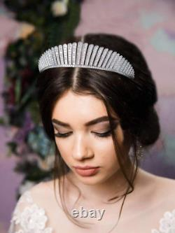 Cubic Zirconia Queen Elizabeth Crowns Cz Wedding Bridal Tiaras Women Silver