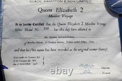 Cunard Line Rms Queen Elizabeth 2 Qe2 Solid Silver Maiden Voyage Medallion Mint