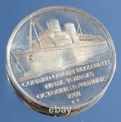 Cunard White Star Line Queen Elizabeth Silver & Copper Final Voyage Medal Set