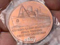 Cunard White Star Line Rms Queen Elizabeth Final Voyage Silver & Bronze Medals