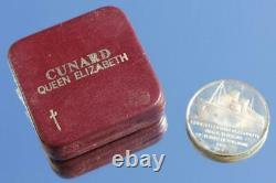 Cunard White Star Line Rms Queen Elizabeth Solid Silver Final Voyage Medal Boxed