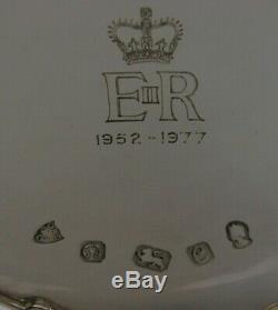 ENGLISH SOLID SILVER QUEEN ELIZABETH DISH 1977 JUBILEE CASED 94g ROYALTY