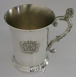 ENGLISH SOLID STERLING SILVER TANKARD MUG CUP 1977 296g QUEEN ELIZABETH