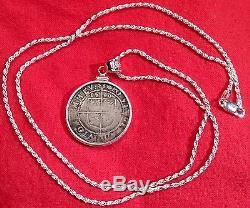 Elizabethan 1590 Queen Elizabeth I British Crest Sterling Silver Coin Pendant