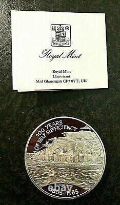 Falkland Islands, Uk 1985 Sterling Silver Proof 25 Pound Coin, Queen Elizabeth II