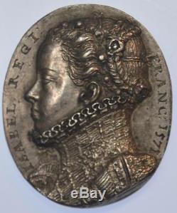 France, Charles IX 1571 Queen Elizabeth of Austria oval silver medallion