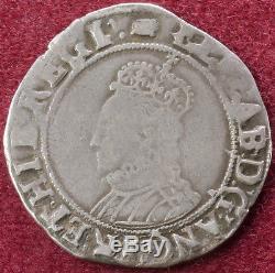 GB Shilling 1594-96 Queen Elizabeth I 6th Issue mm. Woolpack (C2103)