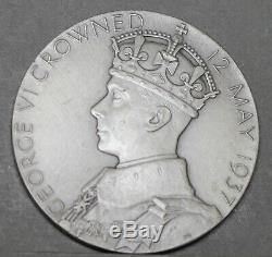 George VI & Queen Elizabeth. 925 Silver Coronation Medal. 91.7g 57mm In R. M. Case
