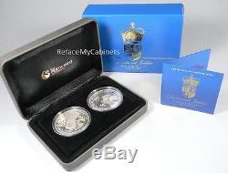 HER MAJESTY QUEEN ELIZABETH II DIAMOND JUBILEE 2012 1OZ SILVER 2-COIN SET