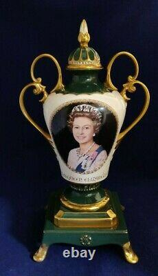 HM Queen Elizabeth II Silver Jubilee fine bone china limited edition vase urn UK