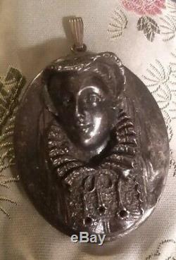 Henryk Winograd. 999 Pure Silver High Relief Queen Elizabeth Pendant Art Nouveau