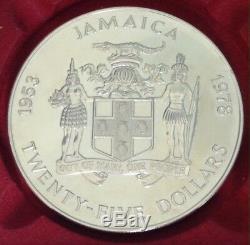 Jamaica SILVER MEDAL 25 Dollars Queen Elizabeth gr. 136,10 ASW 63mm. PROOF 1978