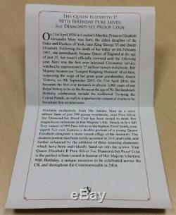 Jubilee Mint Queen Elizabeth II 90th Birthday Pure Silver 5oz Diamond Set Proof