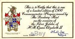 Limited Edition Danbury Mint Queen Elizabeth Silver Jubilee Plaque & Certificate