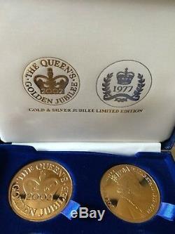 Ltd Edition Queen Elizabeth II Silver and Golden Jubilee 4 Medallion Set Cased