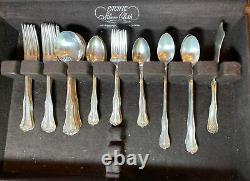 National Double Tested Silverplate Queen Elizabeth Flatware, With Chest