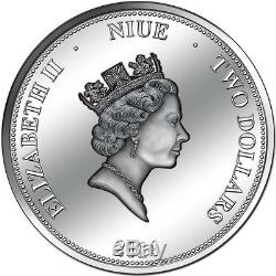 Niue $2, 2 oz. Silver Coin, 1914 2014, 100 Years Panama Canal, Queen Elizabeth
