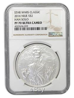 Niue Star Wars $2, 1 oz. Silver Coin, 2016, Han Solo, Queen Elizabeth, NGC 70