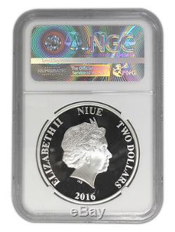 Niue Star Wars $2, 1 oz. Silver Coin, 2016, Rey, Queen Elizabeth, NGC 70