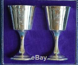 Pair QUEEN ELIZABETH Royal Jubilee Crown Sterling Silver Toasting Goblet Cups