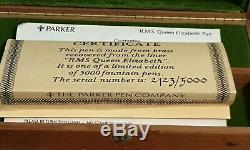 Parker 75 Ltd Edition R. M. S Queen Elizabeth Med Nib Converter 2123/5000 Mint