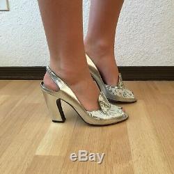 Peter Fox Irredescent Metallic Silver Peep Toe Queen Elizabeth Fan High Heels 10