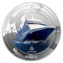 Pitcairn 2013 2 $ Cunard Lines QUEEN ELIZABETH 1 Oz Silver Coin Cruise Ship NEW