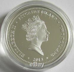 Pitcairn 2 Dollars 2013 Cunard Lines Queen Elizabeth 1 Oz Silver