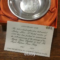 Prince Philip Queen Elizabeth II 25th Anniversary Marriage Sterling Silver Dish
