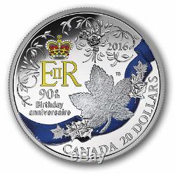 QUEEN ELIZABETH II 90TH BIRTHDAY CANADA 2016 $20 1oz FINE SILVER COIN