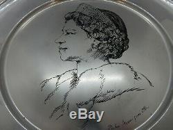 QUEEN ELIZABETH II Solid SILVER 50th Birthday Plate, 1975. 428g. ANNIGONI