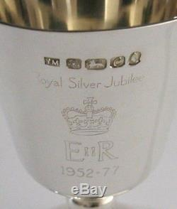 QUEEN ELIZABETH SOLID SILVER ROYAL JUBILEE GOBLET CHALICE 1977 HEAVY 156g SUPERB