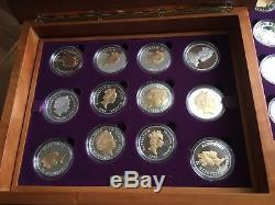 Queen Elizabeth 11 Golden Jubilee 24 Silver Coins And Wooden Case By Royal Mint