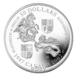 Queen Elizabeth 60th Wedding Anniversary 2007 Canada $50 Fine Silver Coin