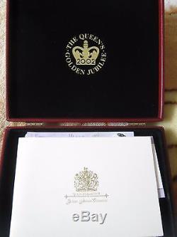 Queen Elizabeth II 2002 Golden Jubilee 24 Silver Proof coin Collection Case COAs