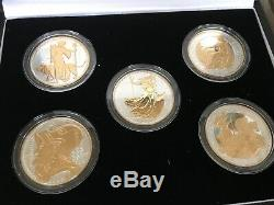 Queen Elizabeth II 2006 Britannia X 5 Boxed Silver & Gold Plated Proof Coin Set