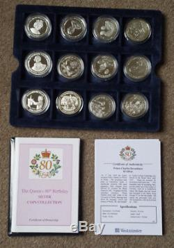 Queen Elizabeth II 80th Birthday Sterling Silver Crown coin collection