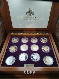 Queen Elizabeth II Golden Jubilee Commemorative Sterling Silver 24 Coin Set