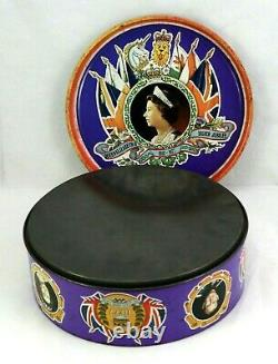Queen Elizabeth II Silver Jubilee 1952 1977 Prince Philip Empty Tin Large