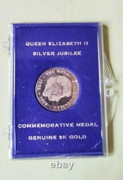 Queen Elizabeth II Silver Jubilee Commemorative Medal Genuine 9K Solid Gold