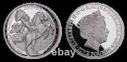 Queen Elizabeth II Silver Proof St. George 5 Pounds Gibraltar, Great Britain
