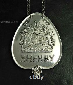 Queen Elizabeth II Solid Silver Jubilee Wine Label Bottle Ticket 1977 Sherry