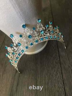 Queen Mary Tiara Royal Elizabeth Bridal Rose cut Diamond Aquamarine Crown