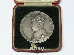 RARE Silver 1937 King George VI Queen Elizabeth II 57mm Coronation Medal with Box